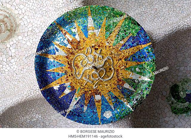 Spain, Catalonia, Barcelona, Gracia district, Park Guell, by architect Antoni Gaudi, listed as World Heritage by UNESCO, Summer Sun ceiling