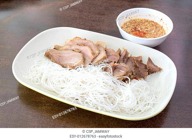 Pork grilled with rice noodle,Vietnamese typical cuisine