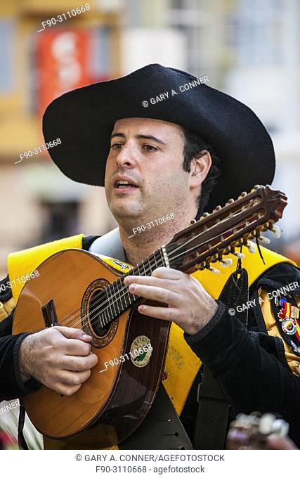 'Tuno' plays on street in Malaga, Spain