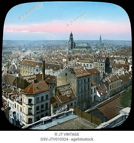 Cityscape, Brussels, Belgium, Hand-Colored Magic Lantern Slide, Newton & Company, 1915