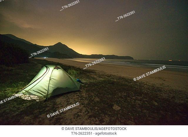 Camping on empty Tai Long Wan (Big Wave Bay) beach, Sai Kung, Hong Kong