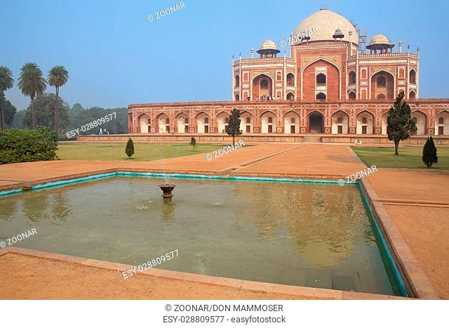Humayun's Tomb with water pool, Delhi, India