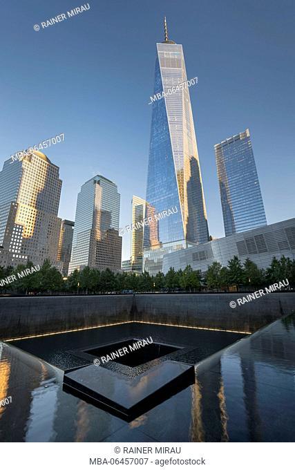 9/11 Memorial, One World Trade centre, Manhattan, New York city, the USA