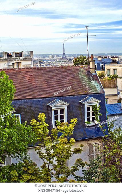 Panorama of Paris from Montmartre, 18th arrondissement, Paris, France, Europe