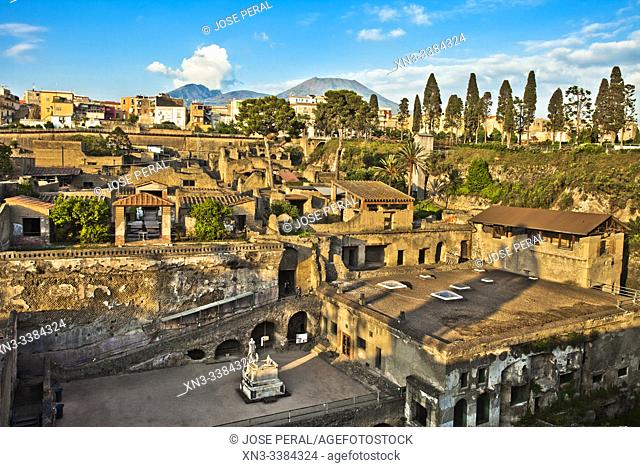 The excavations of Ercolano, Ruins of Herculaneum, was an ancient Roman town destroyed by volcan Mount Vesuvius, Ercolano, comune of Ercolano, Campania, Italy