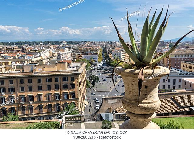 View on Rome from Vatican museum window, Italy, Europe