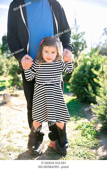 Portrait of small girl holding father's hands and standing on his feet by fir trees