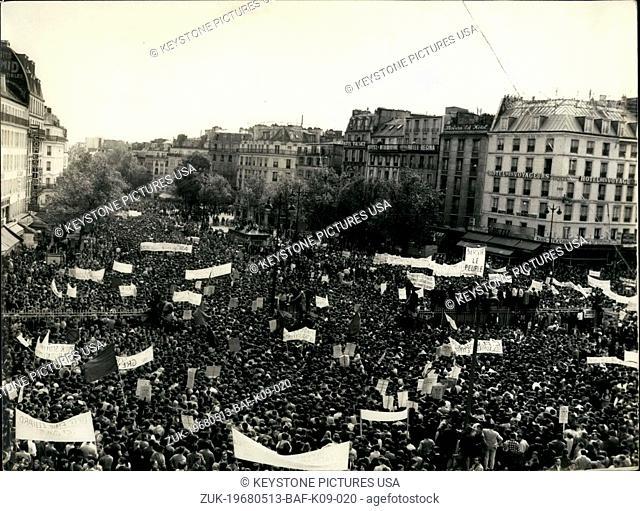 May 13, 1968 - Students and Workers Protesting in Paris (Credit Image: © Keystone Press Agency/Keystone USA via ZUMAPRESS.com)
