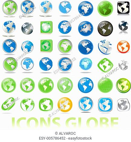 collection of earth globes icons, illustration. Vector format