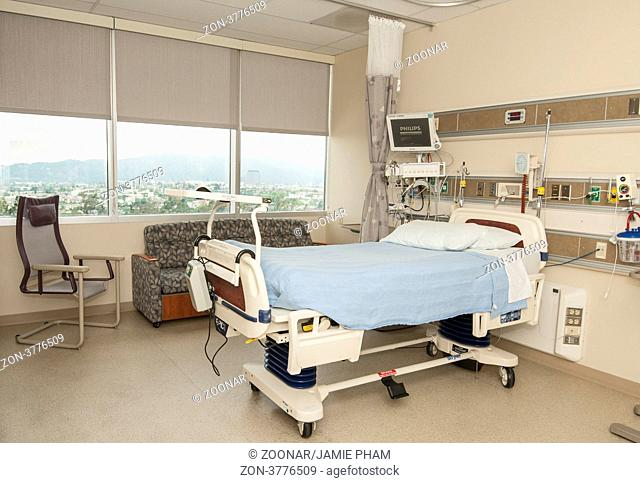 A very modern hospital room with large views of the city outside. Located in Glendale Adventist Hospital. This room is also equipped couches that convert to...