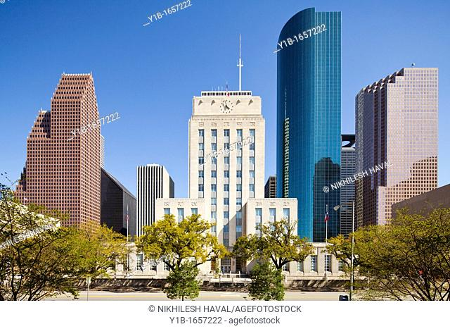 Houston skyline and City Hall, Texas