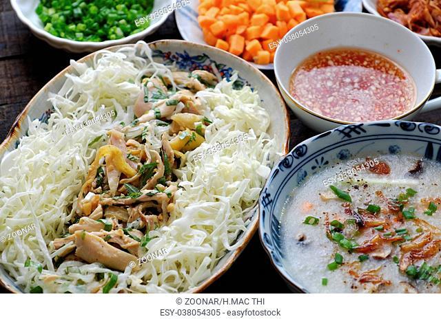 Asian food, chicken rice gruel, chao ga