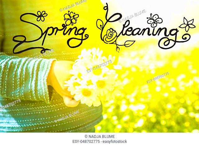 English Calligraphy Spring Cleaning. Cute Little Kid Is Holding A Bouquet Of Daisy Flower. Sunny And Spring Flower Field