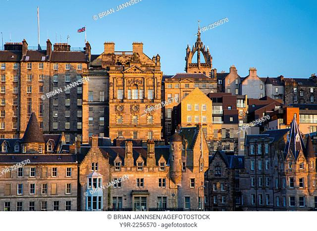 Setting sunlight on the old buildings of Edinburgh, Scotland