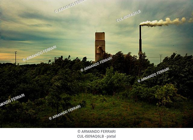 Factory chimney with smoke
