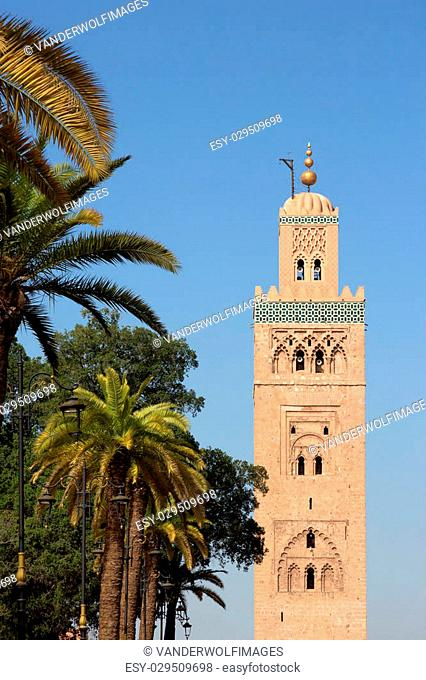 View on the Koutoubia mosque in Marrakech, Morocco. The mosque is the largest in Marrakesh