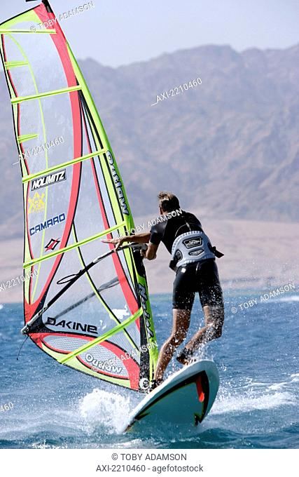 Windsurfing In Dahab, Egypt. The Resort On The Sinai Peninsular Has Become A Favourite Destination For Year Round Windsurfing