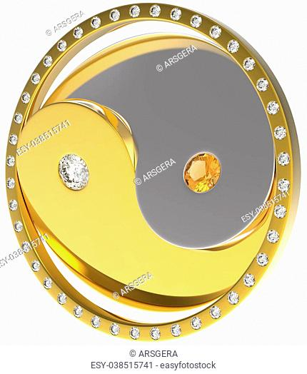 Rotating Ying Yang jewel sybmol. Gold and diamonds. Extralarge resolution. Other gems are in my portfolio