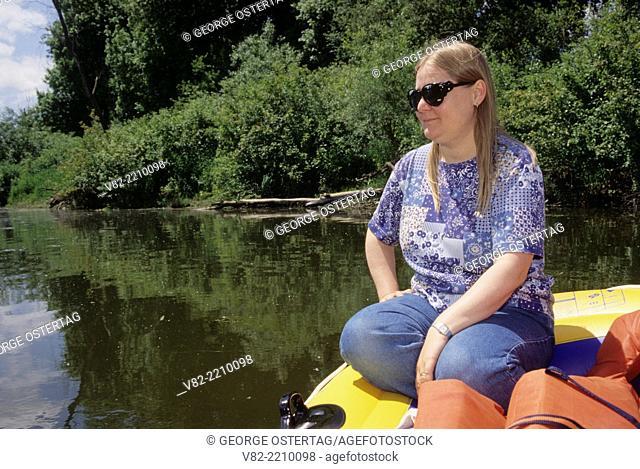 Woman on Mission Lake, Willamette Mission State Park, Oregon