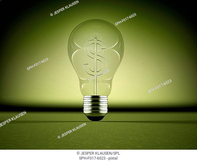 US dollar sign inside a lightbulb, illustration