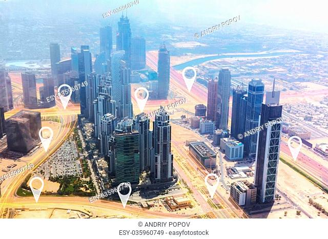 High Angle View Of Modern Skyscrapers In Dubai, UAE