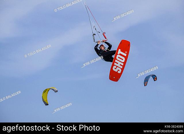 kitesurfing on Illete beachFormentera, Pitiusas Islands, Balearic Community, Spain