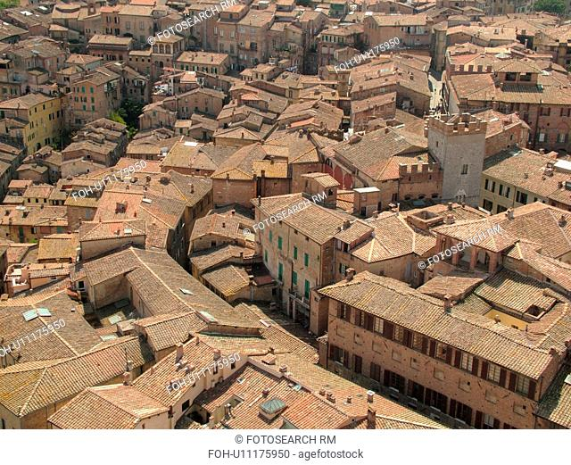 Tuscany, Italy, Siena, Toscana, Europe, Aerial view of the city of Siena from Torre del Mangia