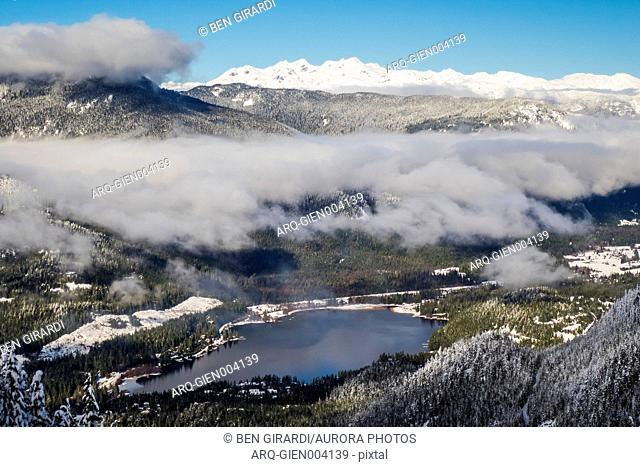 Majestic natural scenery with lake and mountains in winter, Whistler, British Columbia, Canada