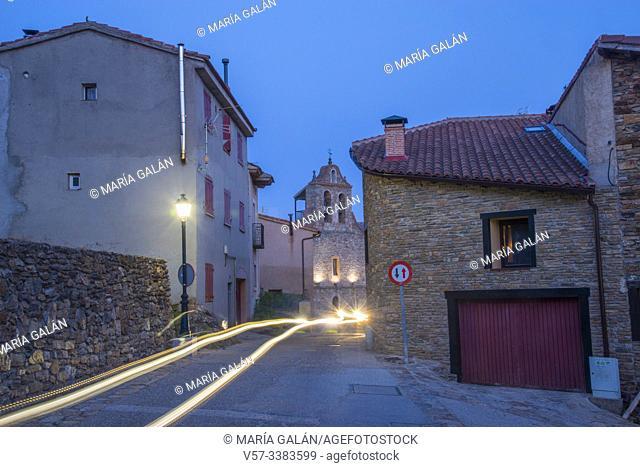 Street, night view. Horcajuelo de la Sierra, Madrid province, Spain