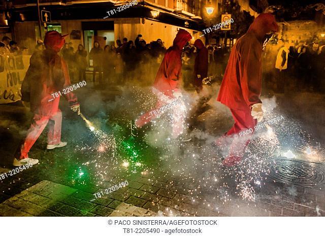 Fire devils in the Carnival, Benimaclet, Valencia Spain