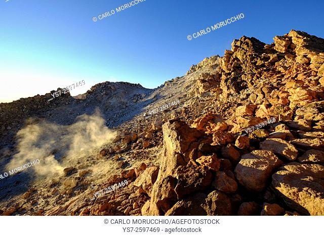Sunset from the volcanic crater of Pico del Teide, Teide National Park, Tenerife, Canary Islands, Spain, Europe