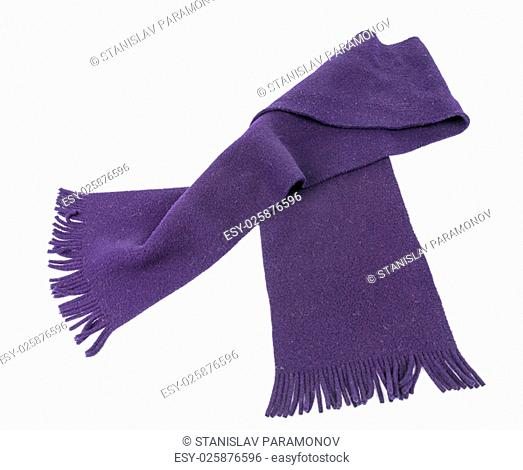 Purple Knit scarf isolated on white background