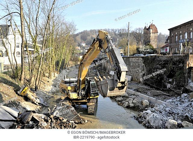 Demolition of the bridge crossing the Josefsbach stream, March 2012, due to the transformation of Josefsbach stream for the State Garden Show