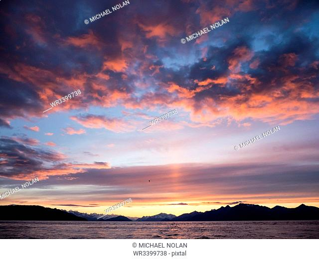 Sunset in Glacier Bay National Park and Preserve, Southeast Alaska, United States of America, North America