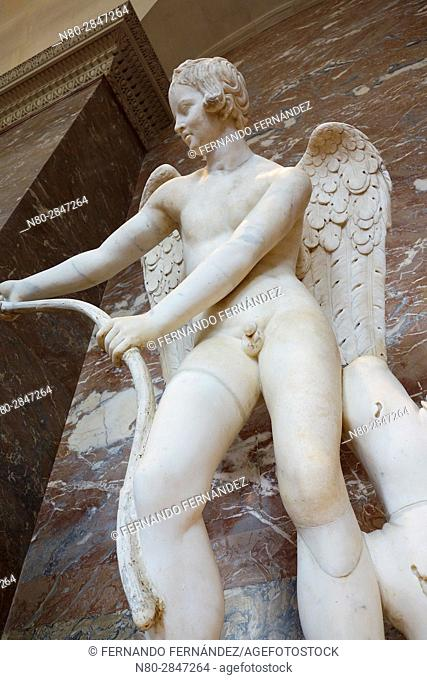 Lysippe's Eros and the Bow. Marble statue. Louvre Museum. Paris. France. Europe