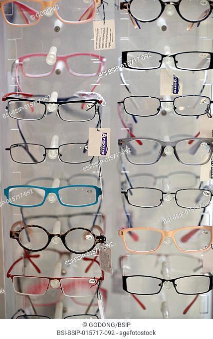 Pharmacy. Assortment of eyeglasses. France