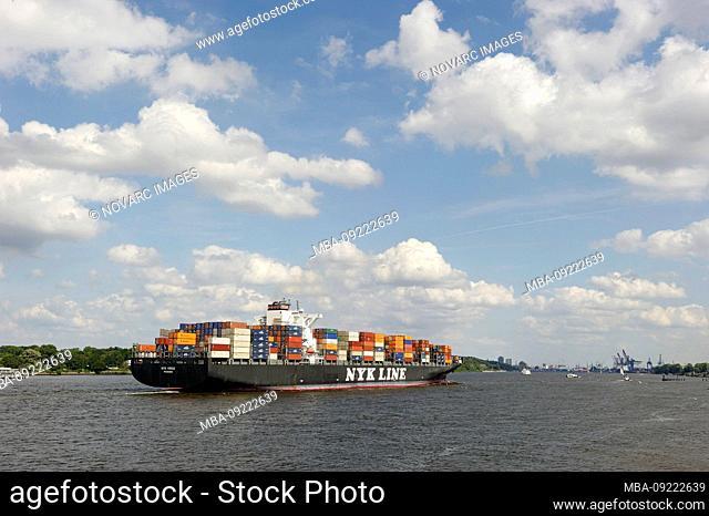 NYK VIRGO super freighter entering port, Finkenwerder, Port of Hamburg, Germany, Europe