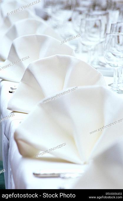 Fabric napkins on festive table
