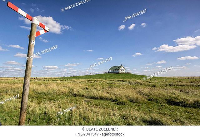 Salt meadows and Claus-Juergen-Reitmann-Haus on Hamburger Hallig, Schleswig-Holstein, Germany