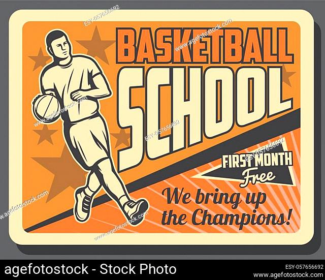Basketball sport game player in uniform dribbling ball on orange court, vector. Basketball sporting school, sporting coaching and training retro poster