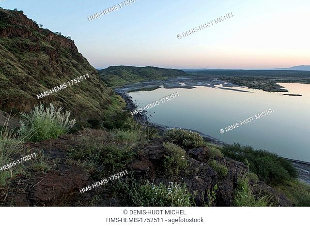 Kenya, lake Magadi, rainy season at dawn