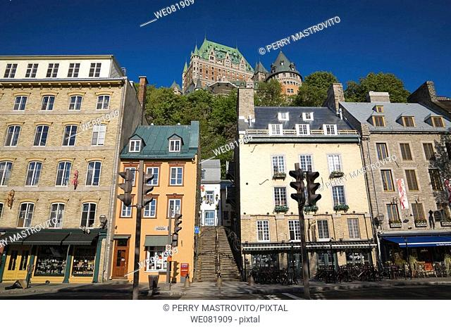 Shops and restaurants along Champlain Boulevard, Lower Town, Quebec City, Quebec, Canada