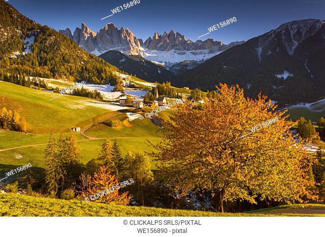 Sankta Magdalena at Sunset in Funes valley, Odle Natural park in Trentino Alto Adige district, Italy, Bolzano province, Europe
