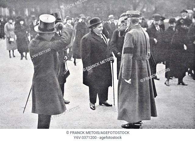 """Newspaper photograph representing Ahmed Kadjar, the Shah of Persia at Longchamp ( France). The newspaper is a french newspaper named """"""""L'illustration""""""""..."""