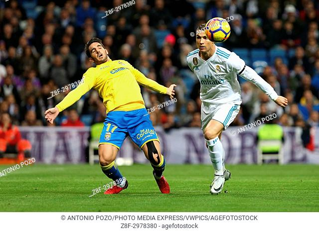 MADRID, SPAIN. November 05, 2017 - Pedro Bigas and Cristiano Ronaldo. Real Madrid defeated Las Palmas 3-0 with an spectacular goal from Asensio with Casemiro...