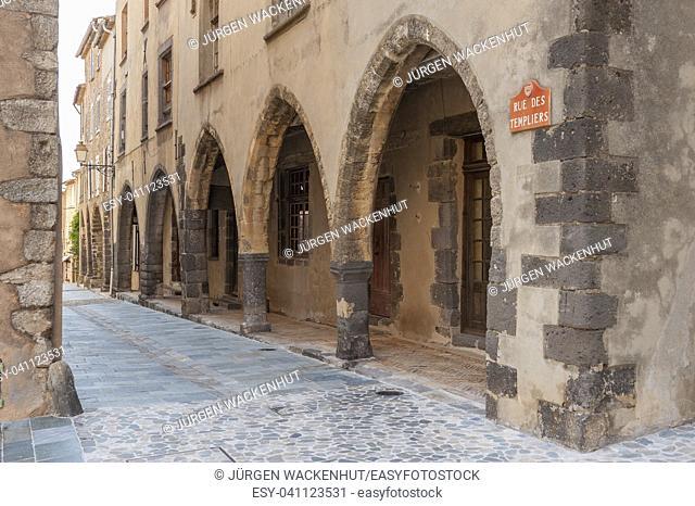 Arcades in the historic Rue des Templiers, Grimaud-Village, Var, Provence-Alpes-Cote d`Azur, France, Europe