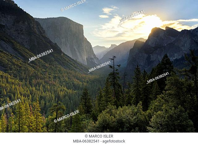 View in the Yosemite Valley, the USA, California