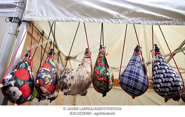 Wineskins, folklore fair of Santo Tomas, Donostia, San Sebastian, Gipuzkoa, Basque Country, Spain, Europe