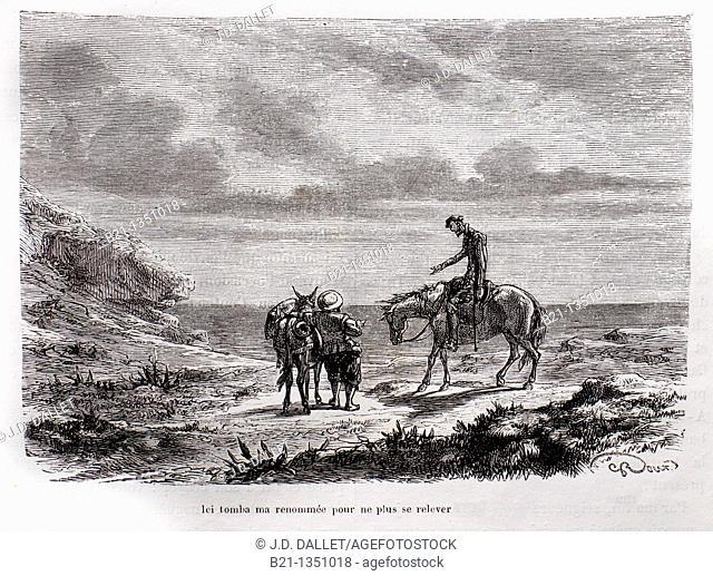'Ici tomba ma renommée pour ne plus se relever', The Ingenious Gentleman Don Quixote of La Mancha by Miguel de Cervantes