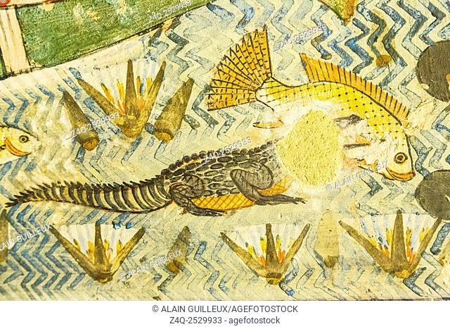 """UNESCO World Heritage, Thebes in Egypt, Valley of the Nobles, tomb of Menna. Detail of the """"""""fishing in the marshes"""""""" scene : Lunch time for a crocodile"""